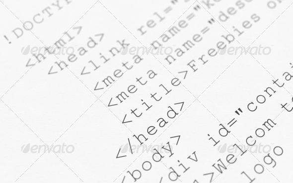 Html code on white background - Stock Photo - Images