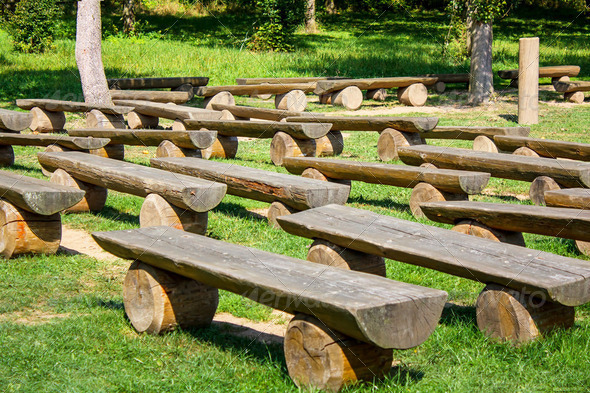 outdoor wood benches on green lawn - Stock Photo | PhotoDune