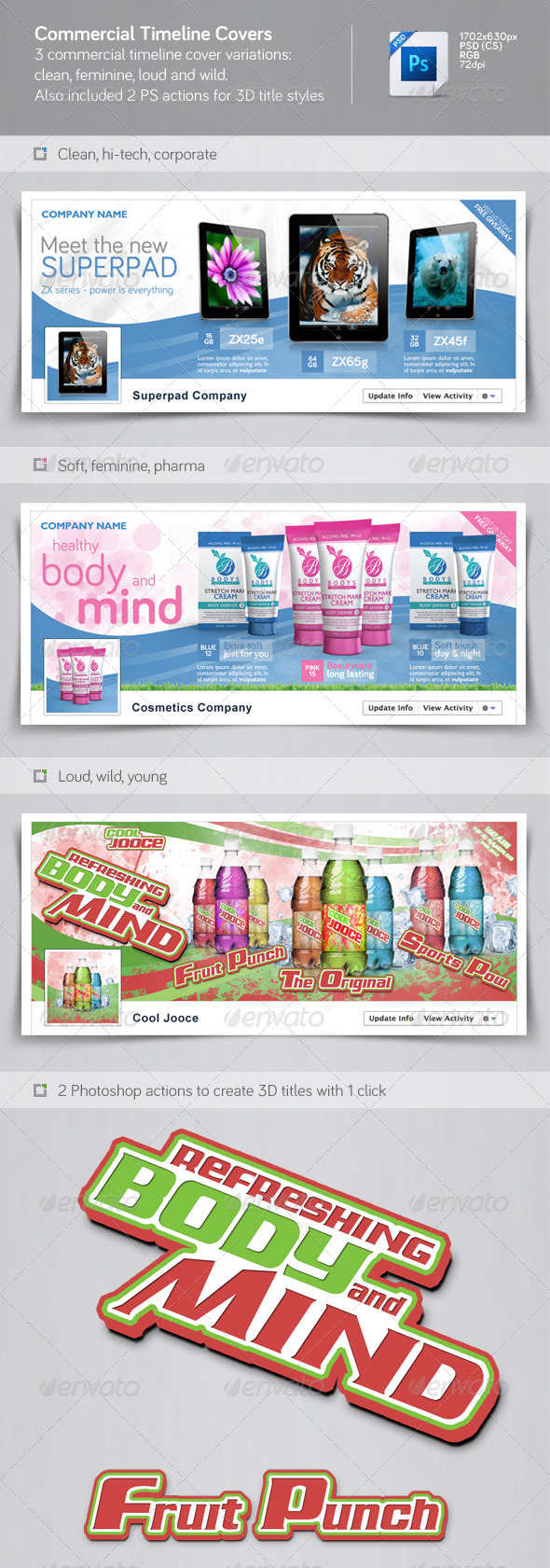 GraphicRiver Commercial facebook timeline covers pack 3319481