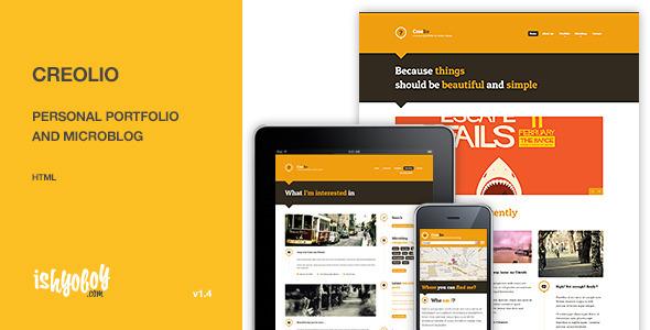 ThemeForest Creolio Personal portfolio and microblog HTML 3122161
