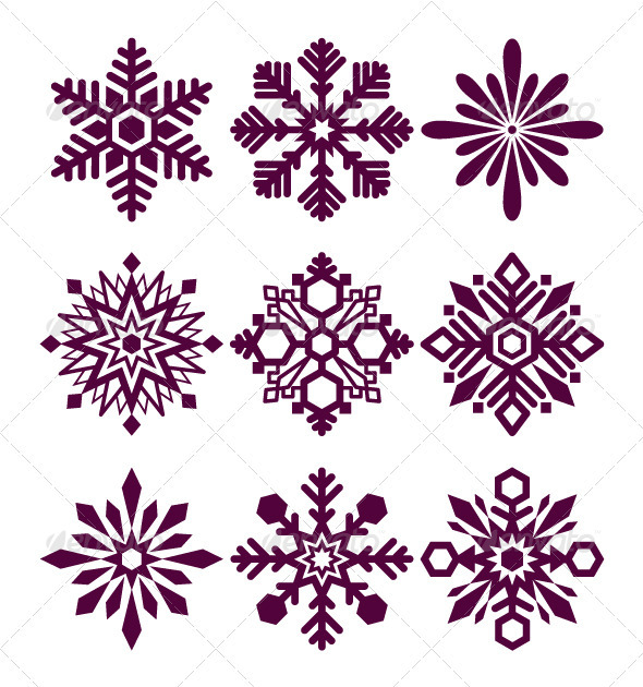 GraphicRiver Set of vector snowflakes 3319820