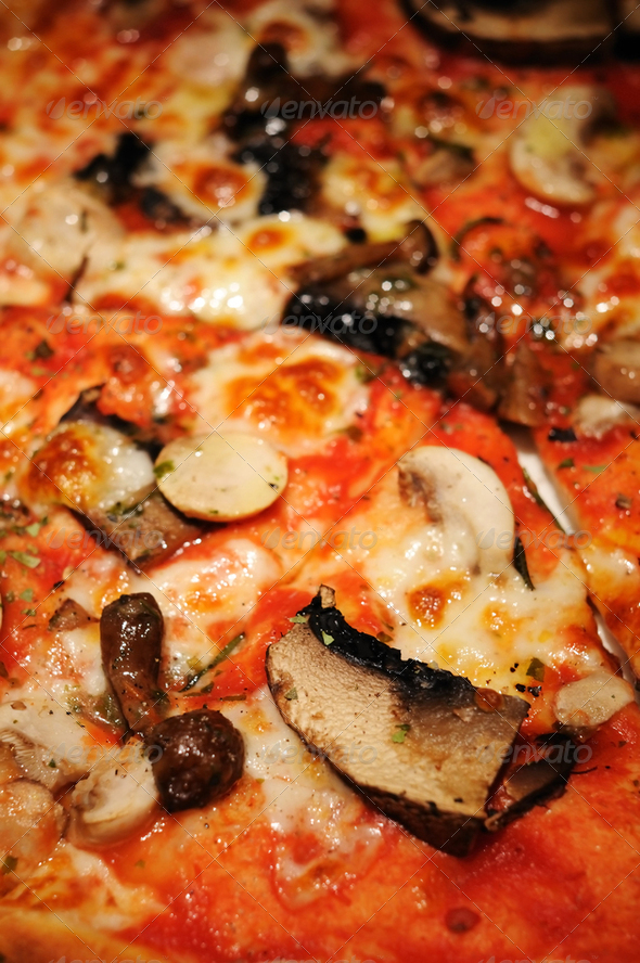 Mushroom Pizza closeup - Stock Photo - Images