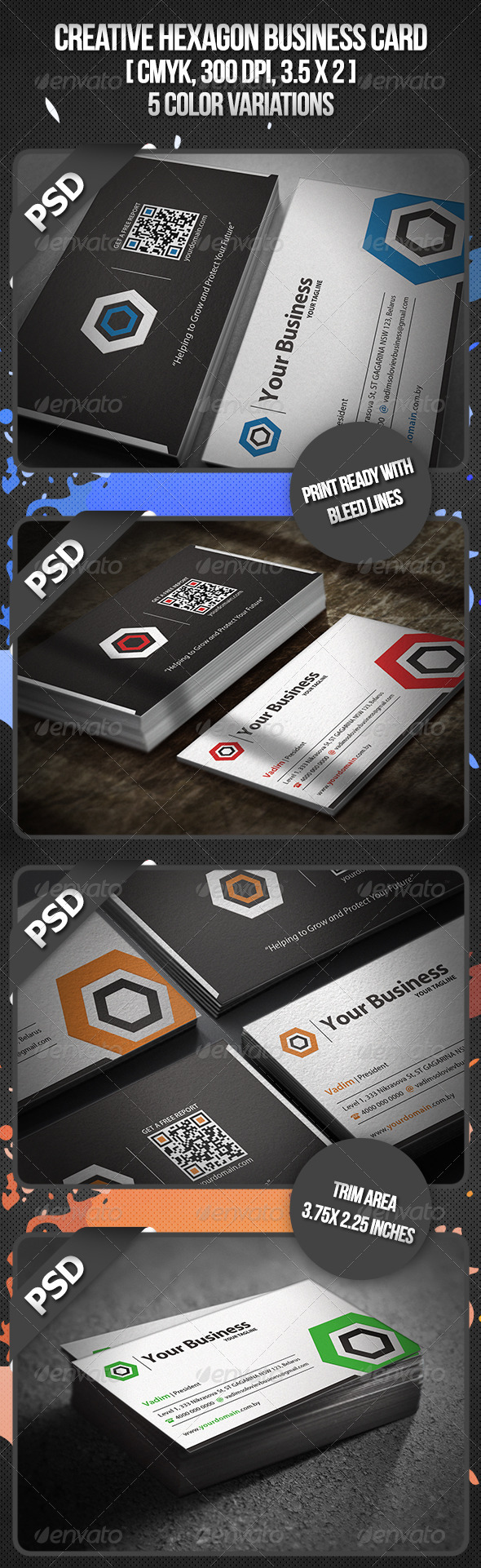 GraphicRiver Creative Hexagon Business Card 3320258