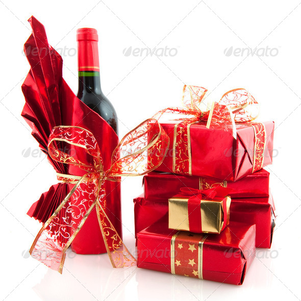 Christmas presents in red - Stock Photo - Images