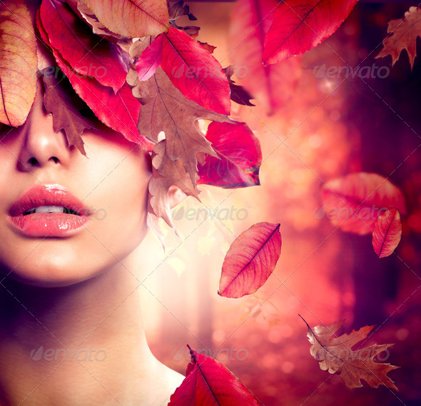 Autumn Woman Fashion Portrait. Fall - Stock Photo - Images