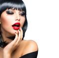 Beautiful Brunette Girl Portrait over White. Sensual Red Lips - PhotoDune Item for Sale