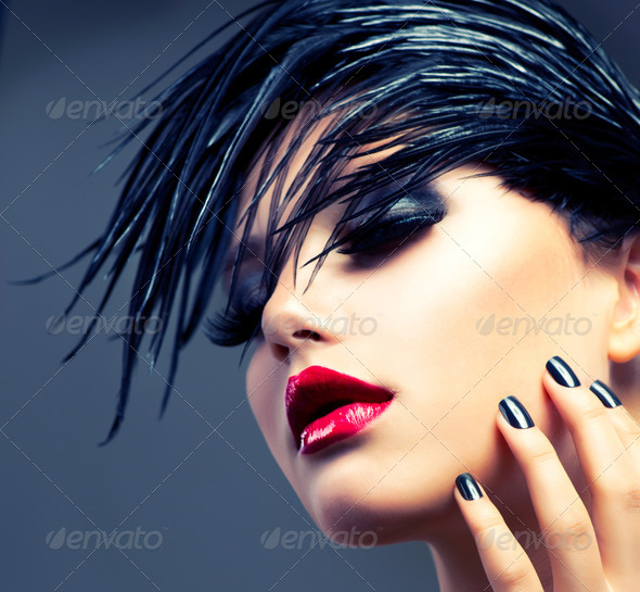 Fashion Art Girl Portrait. Punk Style - Stock Photo - Images