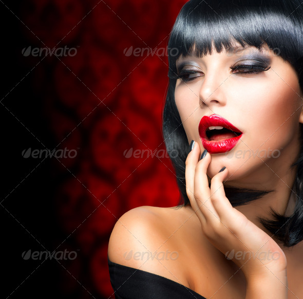 Beautiful Brunette Girl Portrait.Makeup. Sensual Red Lips - Stock Photo - Images