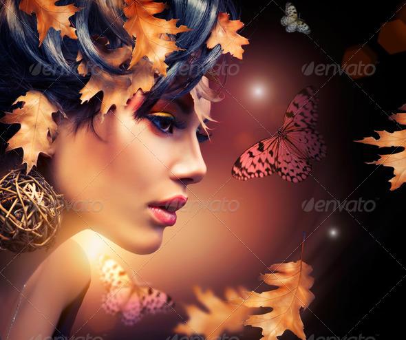 Autumn Woman Fashion Portrait. Fall - Stock Photo - Images