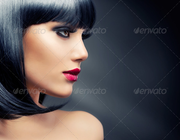 Beautiful Brunette Girl. Healthy Black Hair - Stock Photo - Images