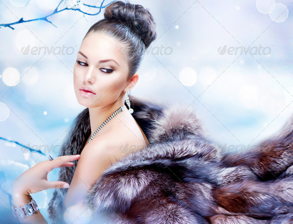 Winter Woman in Luxury Fur Coat - Stock Photo - Images
