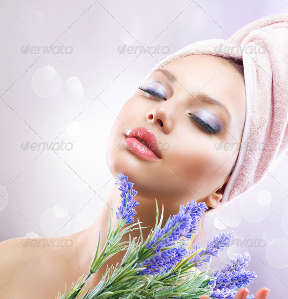 Spa Girl with Lavender Flowers. Organic Cosmetics - Stock Photo - Images