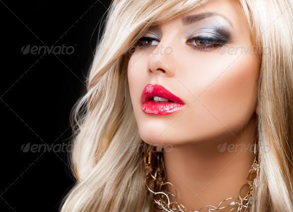 Blond Fashion Woman Portrait. Blonde Hair - Stock Photo - Images