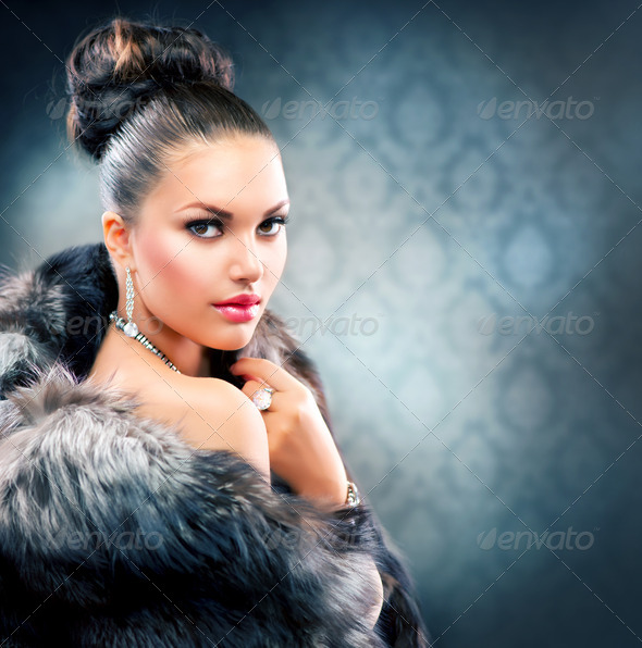 Beautiful Woman in Luxury Fur Coat - Stock Photo - Images