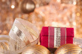 gold christmas baubles and red box  - PhotoDune Item for Sale