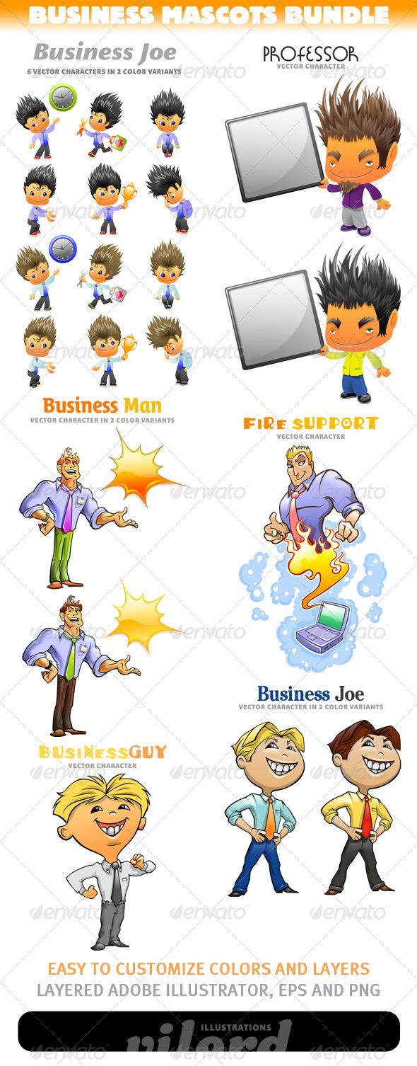 GraphicRiver Business Mascots Bundle 3321554