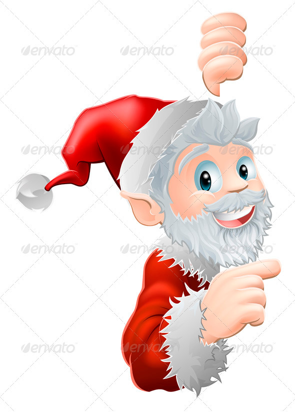 GraphicRiver Santa Peeking and Pointing 3305577