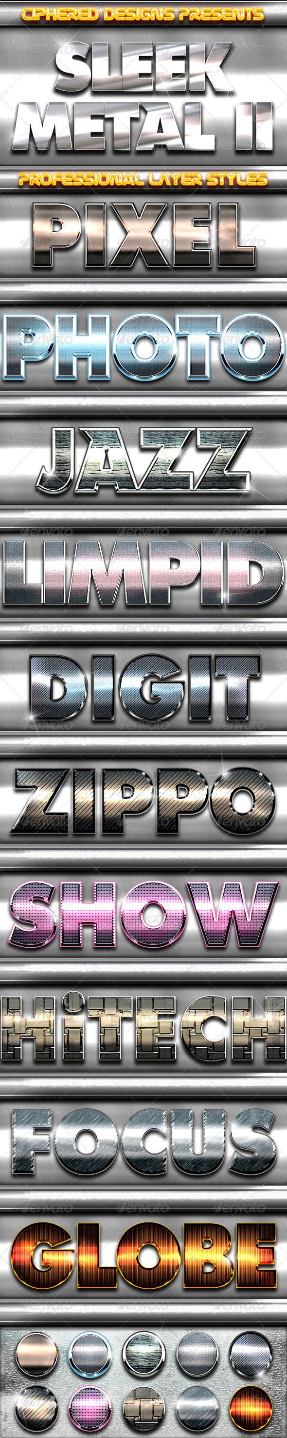 GraphicRiver Sleek Metal II Professional Layer Styles 3322164