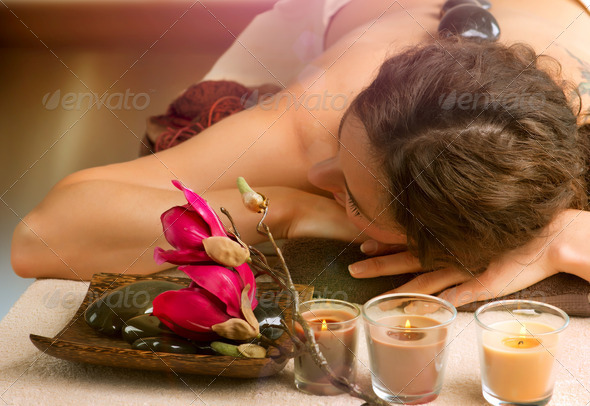 Spa Salon. Stone Massage. Dayspa - Stock Photo - Images