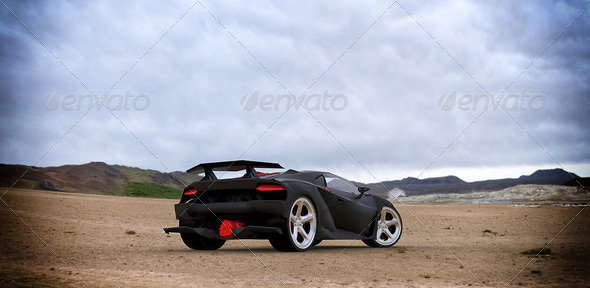 Black Sports Car - Stock Photo - Images