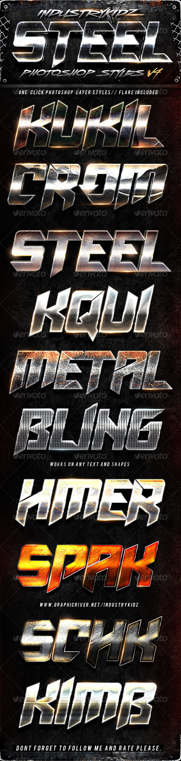 Steel Photoshop Layers Styles V4 - Text Effects Styles