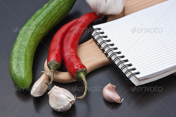 notebook for cooking recipes and vegetables - Stock Photo - Images
