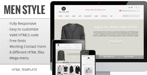 Men Shop Style - Responsive e-commerce template