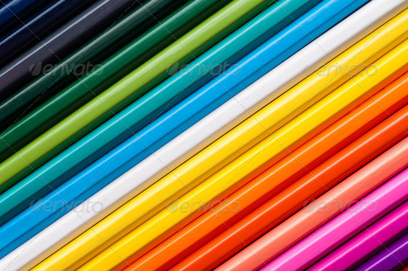 Set of multicolor pencils, abstract striped background - Stock Photo - Images