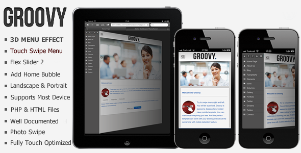 Groovy Premium Mobile HTML Template - ThemeForest Item for Sale