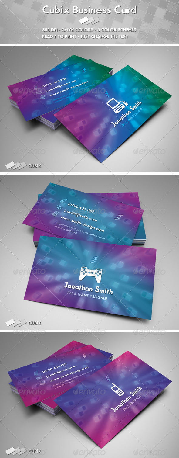 Graphic River Cubix Business Card Print Templates -  Business Cards  Creative 944105