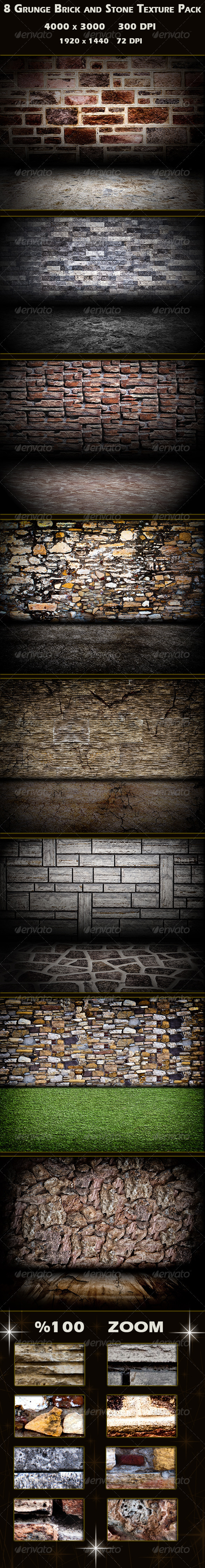 GraphicRiver 8 Grunge Brick and Stone Wall Texture Pack 3325483