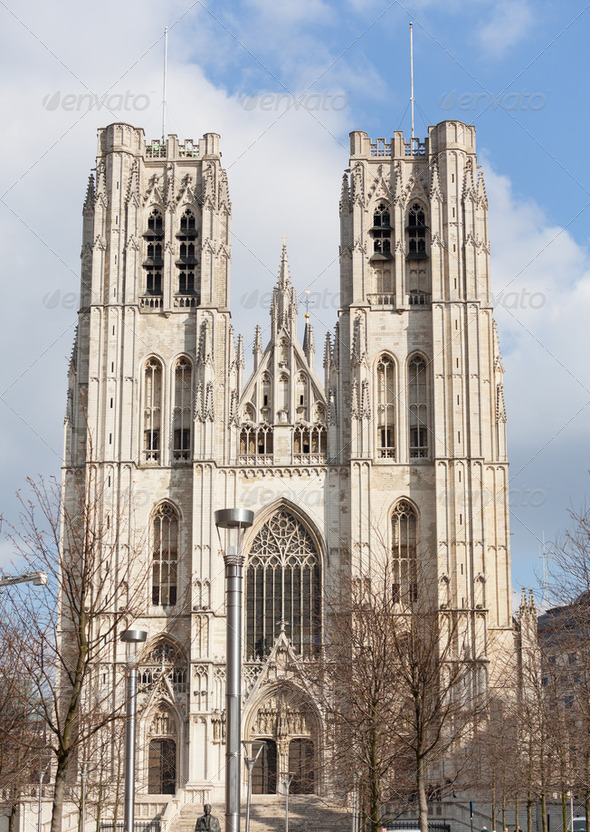 Cathedral of St Michael in Brussels - Stock Photo - Images