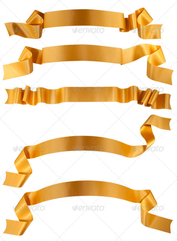 Elegance gold ribbon banner - Stock Photo - Images