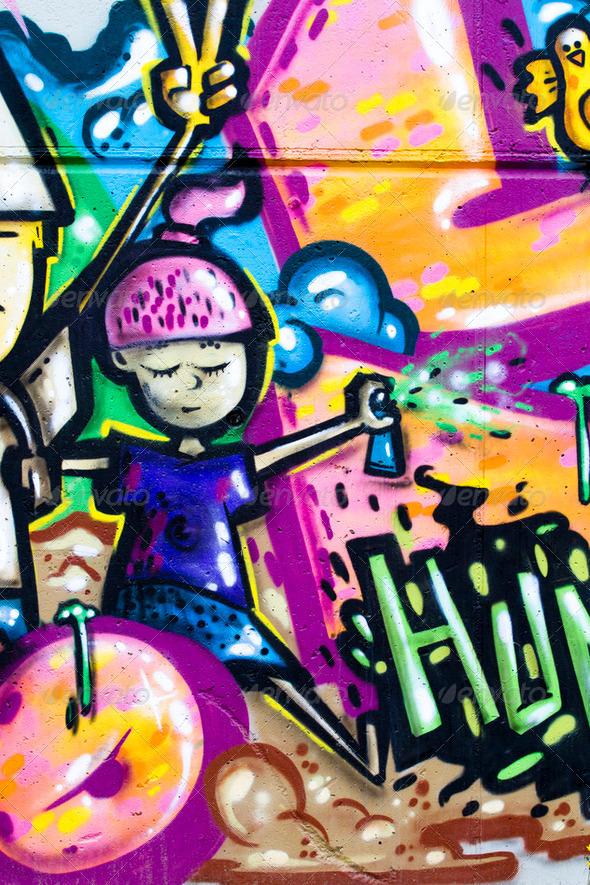 Street art, urban grafitti on wall - Stock Photo - Images