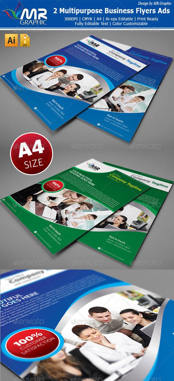 GraphicRiver 2 Multipurpose Business Flyers Ads 3299741