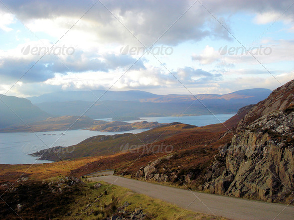 Scottish highlands near Loch Torridon 2 - Stock Photo - Images