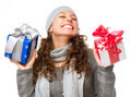 Happy Young Woman With Christmas Gifts. Gift Box - PhotoDune Item for Sale