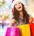 Christmas Shopping. Woman with Bags in Shopping Mall. Sales - PhotoDune Item for Sale
