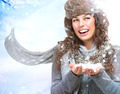 Christmas Girl. Winter woman Blowing Snow - PhotoDune Item for Sale