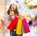 Christmas Shopping. Girl With Bags in Shopping Mall - PhotoDune Item for Sale