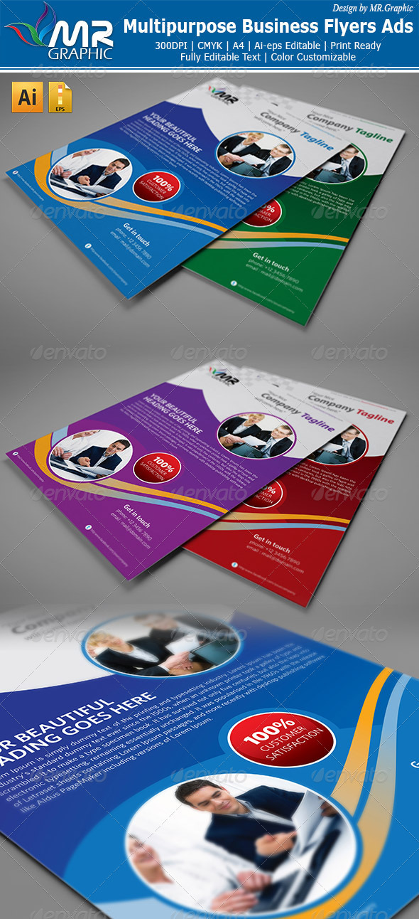 GraphicRiver Multipurpose Business Flyers Ads 3300178