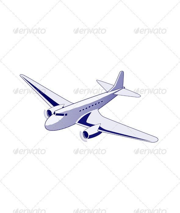 GraphicRiver Propeller Airplane Retro 3326826
