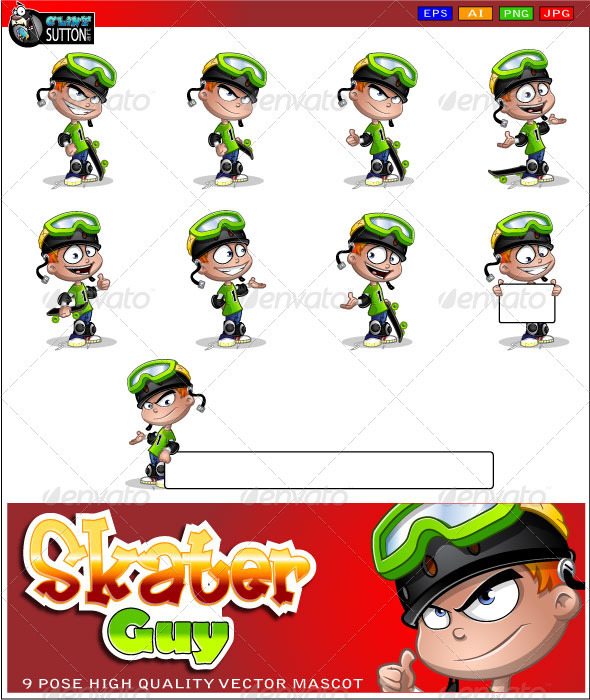 GraphicRiver Skater Guy Mascot 3306658