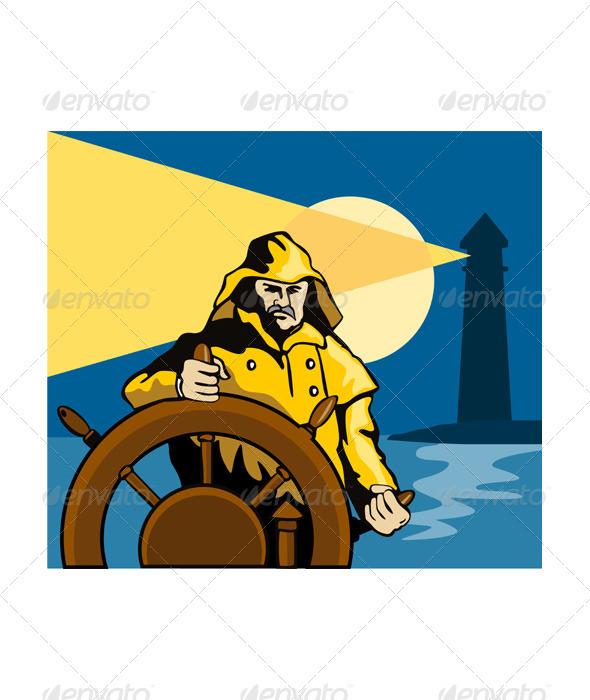 GraphicRiver Fisherman Sea Captain Helm Retro 3327115