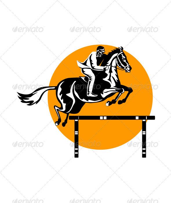 GraphicRiver Equestrian Show Jumping Retro 3327122