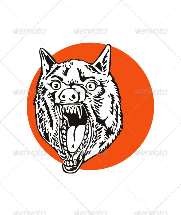 GraphicRiver Wild Dog Wolf Retro 3327151
