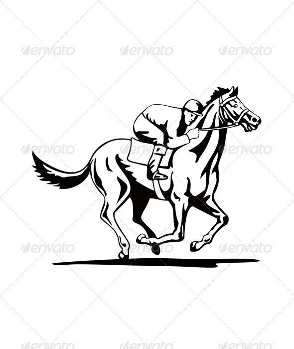 GraphicRiver Horse and Jockey Racing Retro 3327155