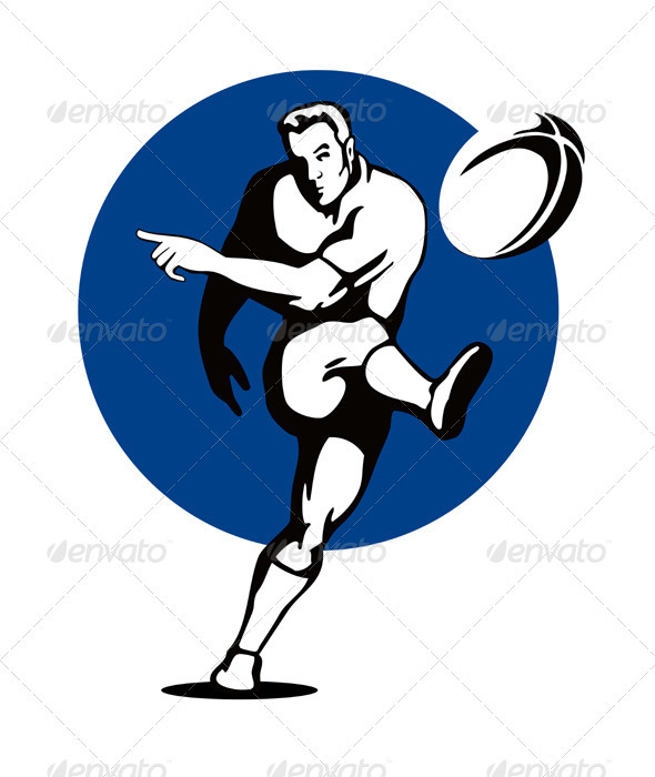 GraphicRiver Rugby Player Kicking Ball Retro 3327177