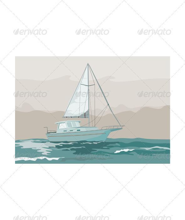 GraphicRiver Sailboat Retro 3327303