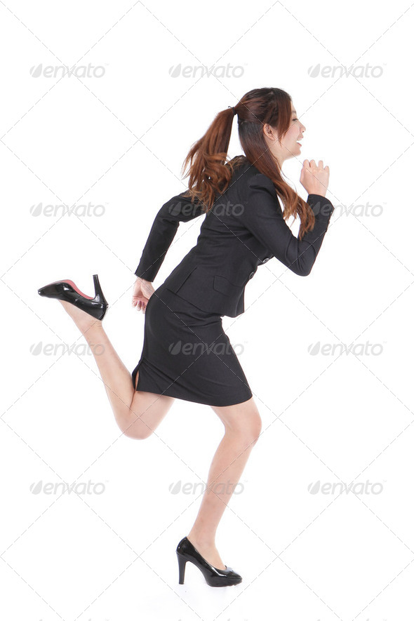 Running Business woman in full length - Stock Photo - Images